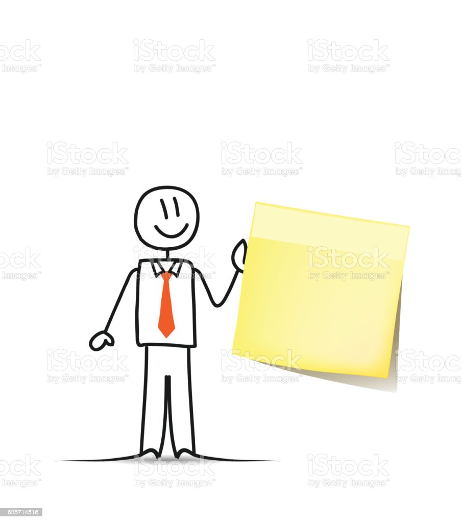 Businessman and sticky note paper royalty-free businessman and sticky note paper stock vector art & more images of adhesive note