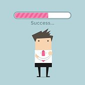 Businessman and success loading bar