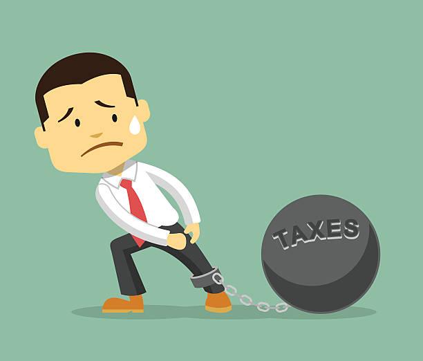 Businessman and tax burden. Vector flat illustration Businessman and tax burden. Vector flat illustration ducking stock illustrations