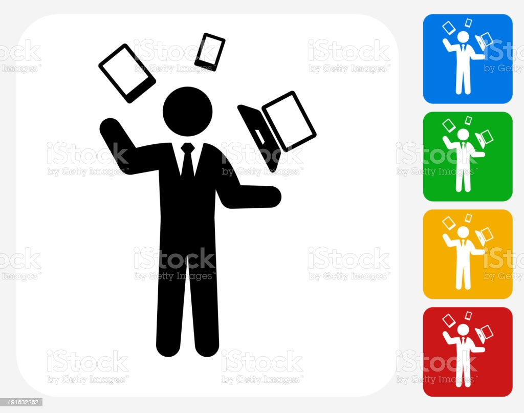 Businessman and Technology Communication Icon Flat Graphic Design vector art illustration