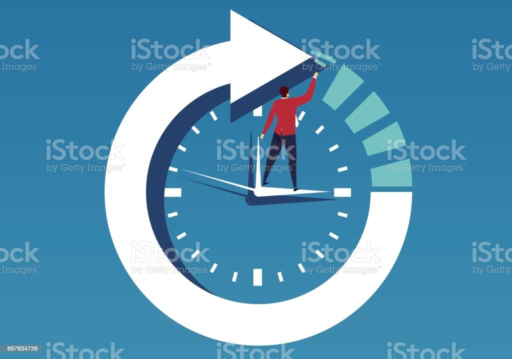 Businessman and time vector art illustration
