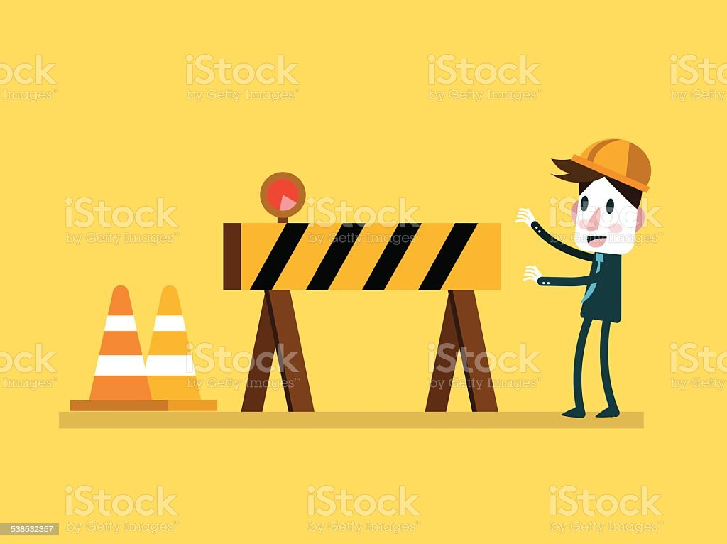 Businessman and Under Construction sign. vector art illustration