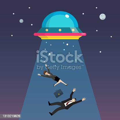 istock Businessman and woman abducted by UFO 1313219626