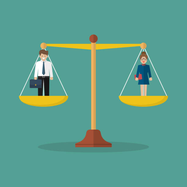 Businessman and woman balancing on scales Businessman and woman balancing on scales. Social justice concept wages stock illustrations