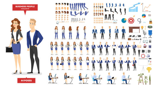 Businessman and woman character in suit set Businessman and woman character in suit set for animation with various views, hairstyle, emotion, pose and gesture. Different office equipment. Isolated flat vector illustration group of objects stock illustrations