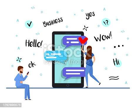 Businessman and woman correspond in a business chat. smartphone and chatting bubble speeches. Background of a concept with online chat. Vector illustration, flat style.