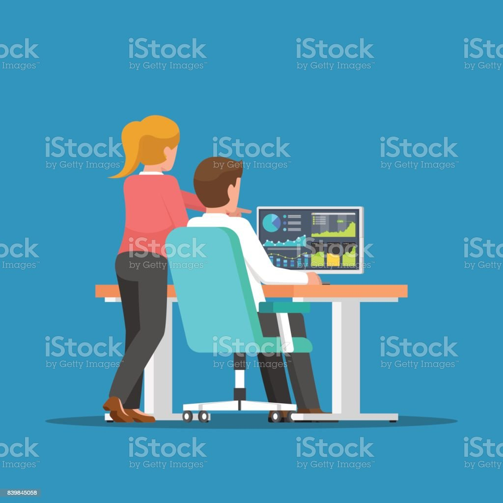 Businessman and woman discussing about business on the computer. vector art illustration