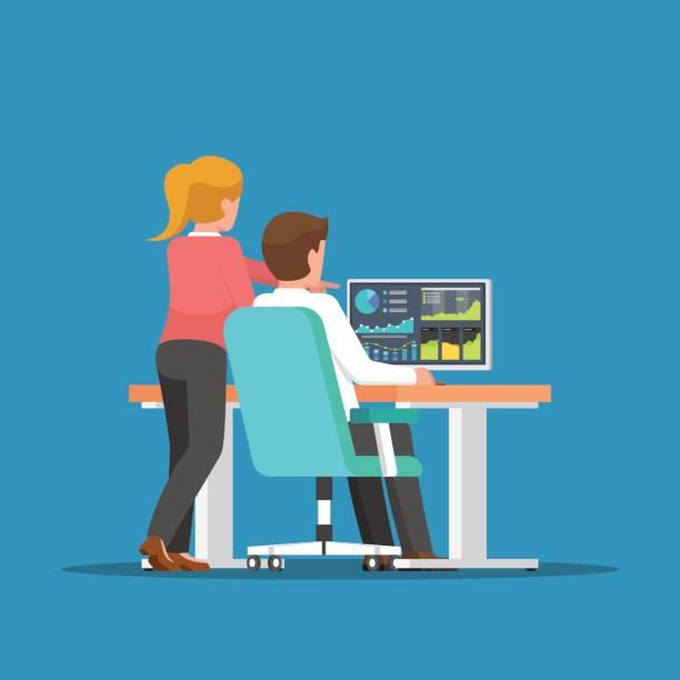 商人和女人談業務,在電腦上。 - 用電腦 幅插畫檔、美工圖案、卡通及圖標