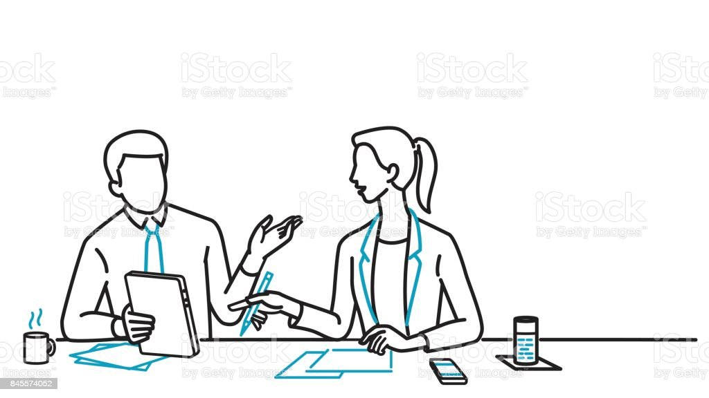 Businessman and woman discussing vector art illustration