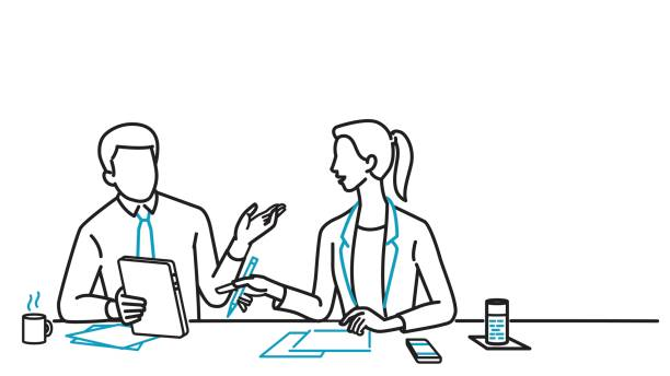 Businessman and woman discussing Businessman and businesswoman sitting on table, holding digital tablet, discussing together. Line art, linear, outline, thin line, hand drawn sketching design, simple style. colleague stock illustrations