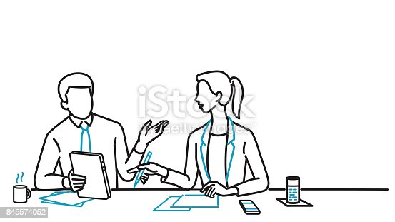Businessman And Woman Discussing Stock Vector Art & More ...