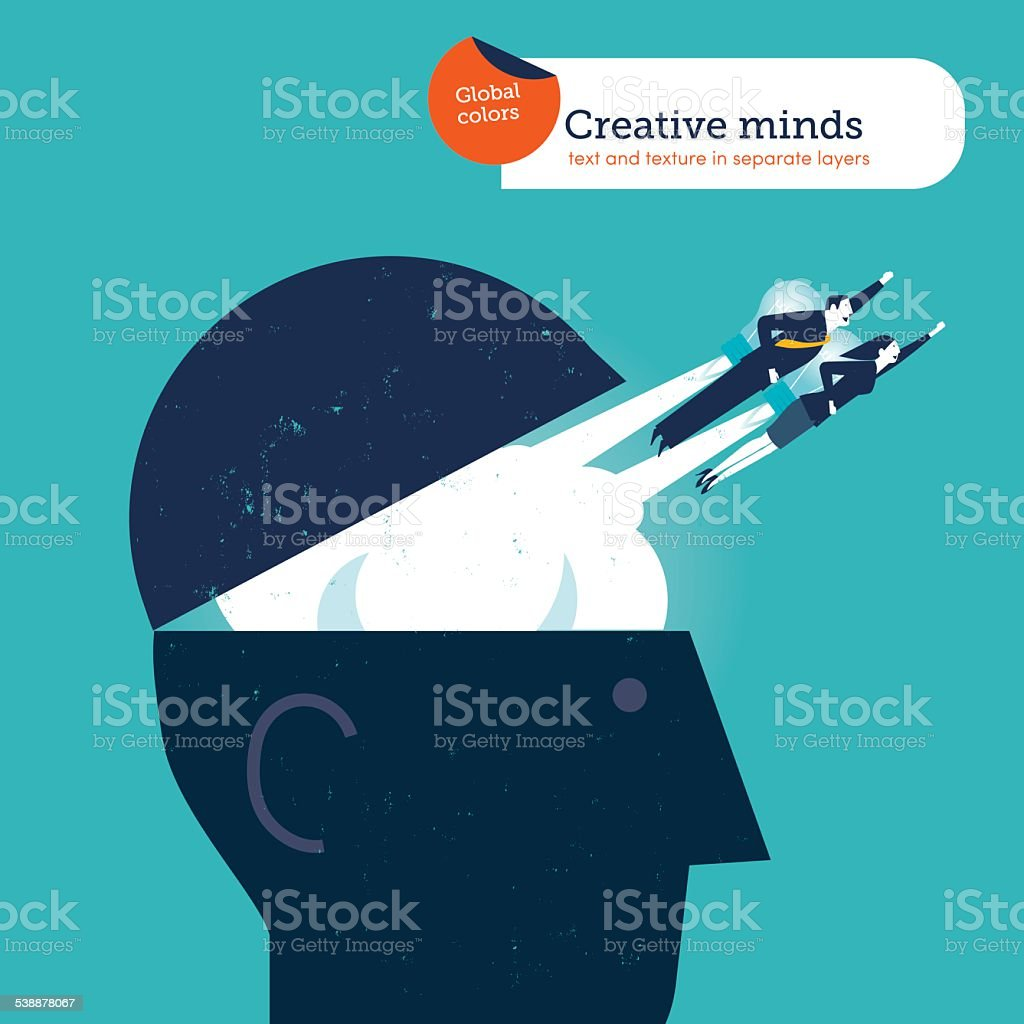 Businessman and woman flying out from a head with rockets vector art illustration