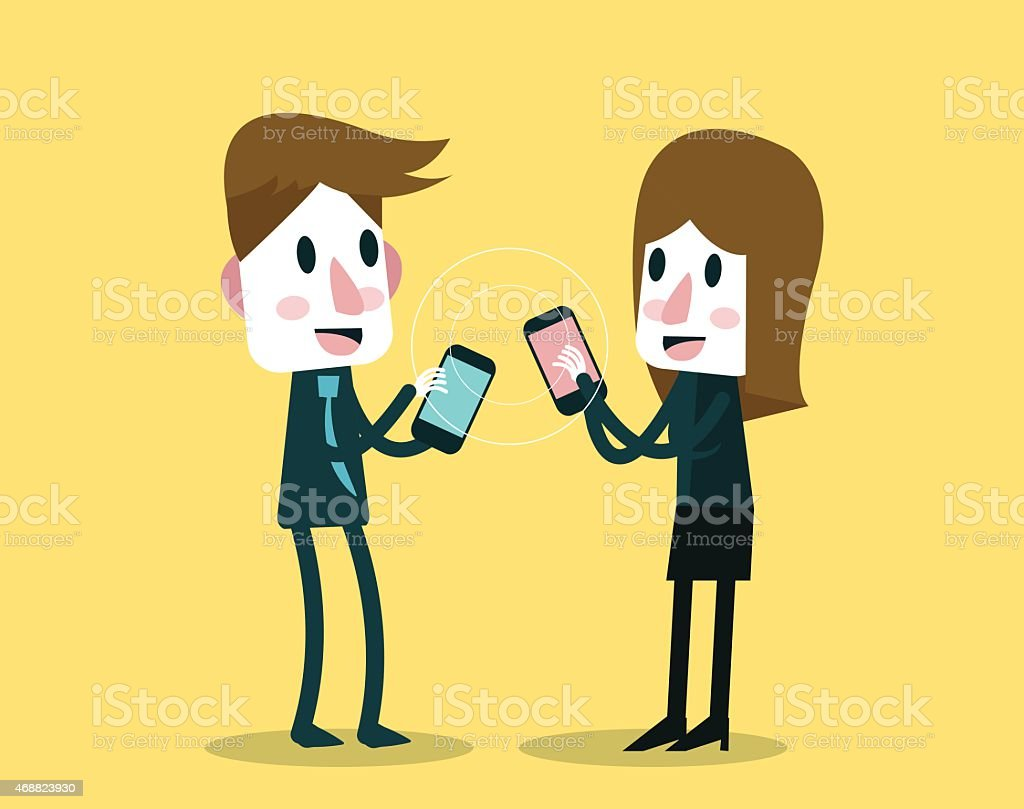 Businessman and woman sharing and exchanging data with smartphone. vector art illustration