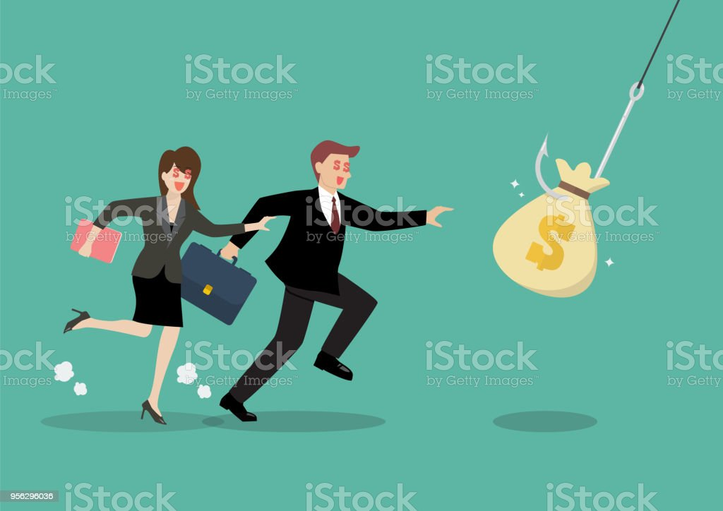 Businessman and woman try to pick money bag from hook trap vector art illustration