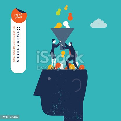 845301446 istock photo Businessman and woman with funnel filling a head with bulbs 526178467