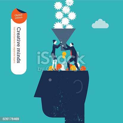 845301446 istock photo Businessman and woman with funnel filling a head with gears 526178469