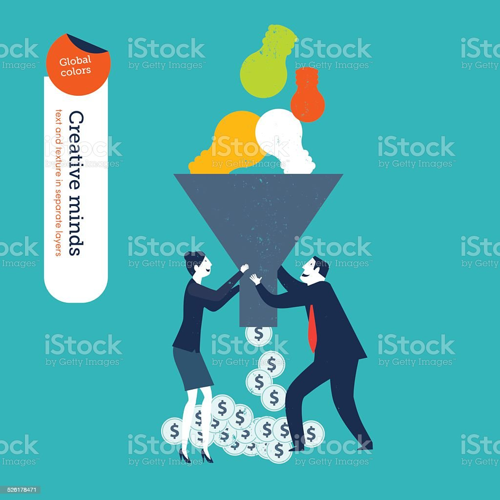 Businessman and woman with funnel with bulb and money vector art illustration