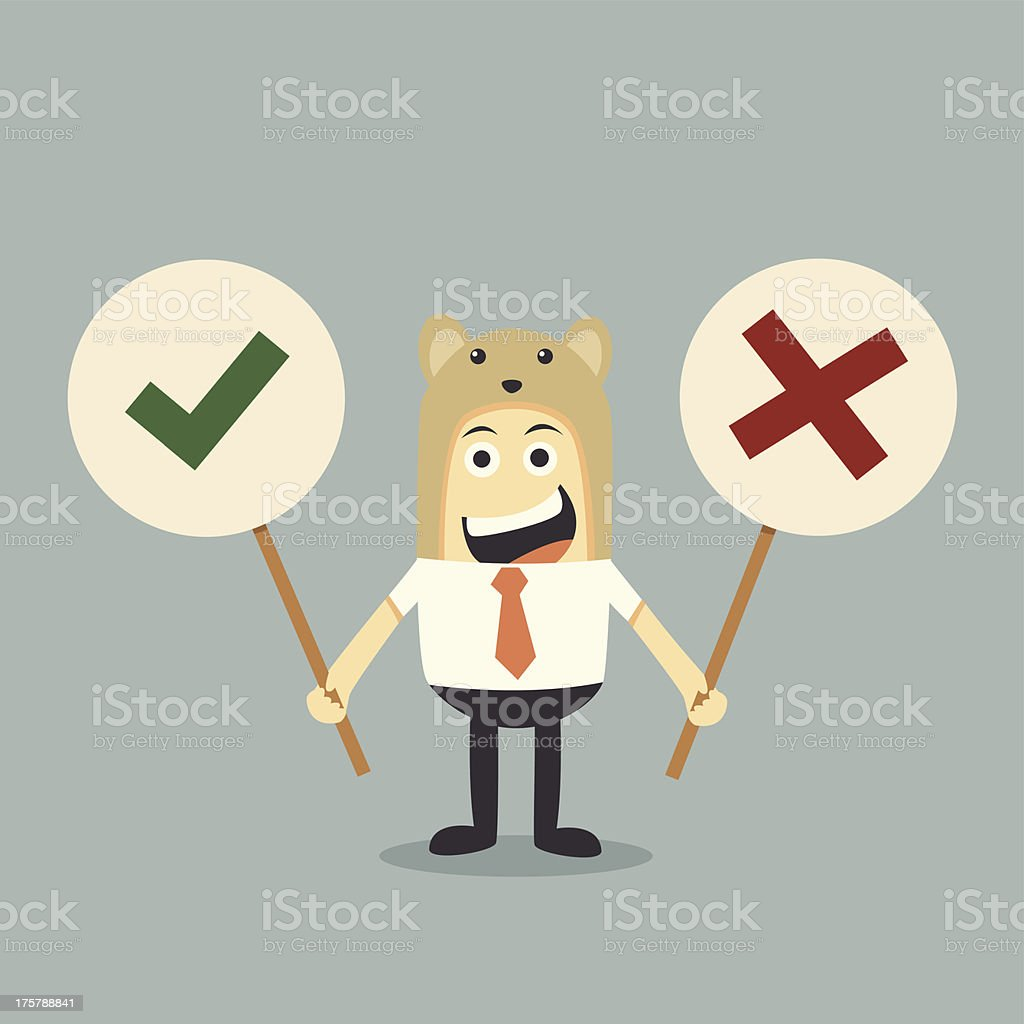 Businessman and yes ,no sign royalty-free stock vector art