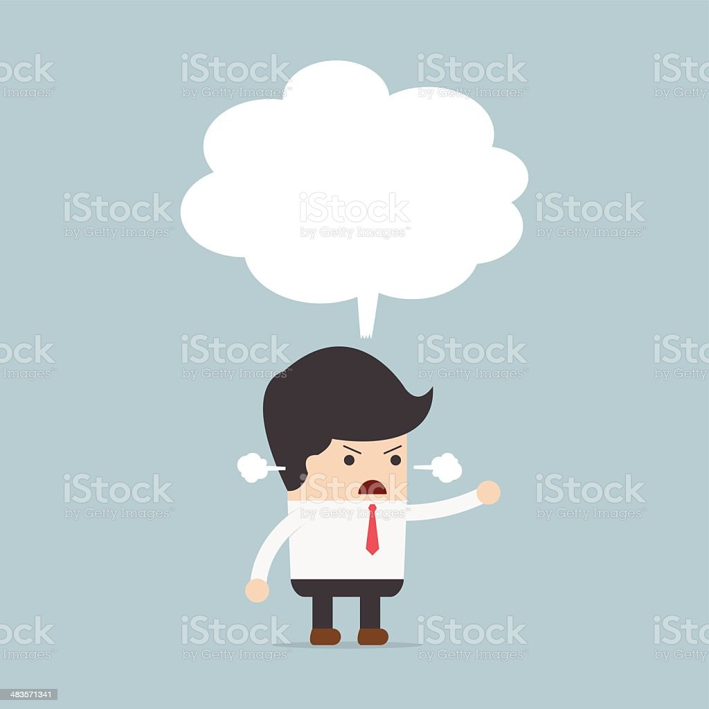 Businessman angry with blank speech vector art illustration