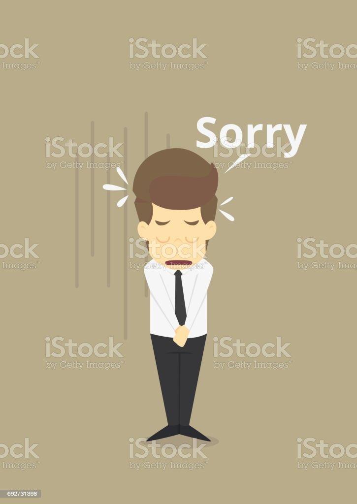 Businessman apologize vector art illustration