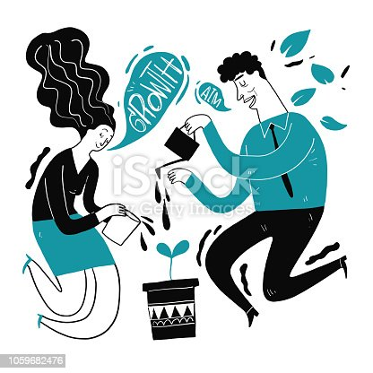 Businessman are watering, metaphor or symbol of growth overcoming adversity in strategy and finding leadership solutions corporate of success. Vector Illustration doodle style