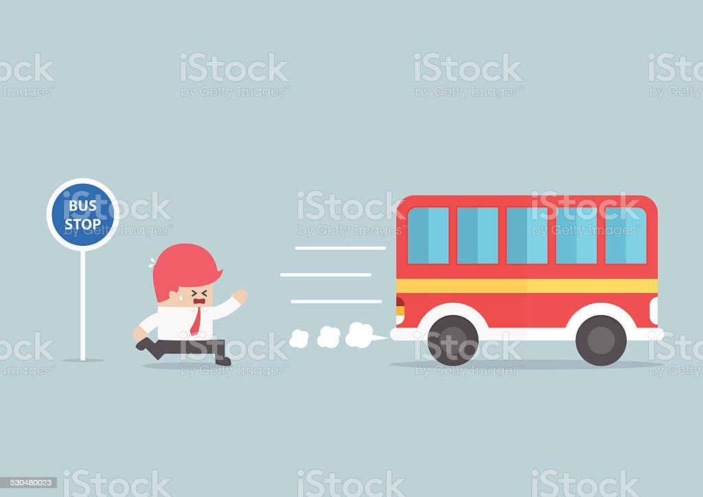 Businessman arriving too late at bus stop vector art illustration