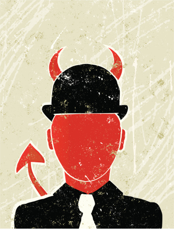 Businessman as a Devil Showing  Corporate Greed