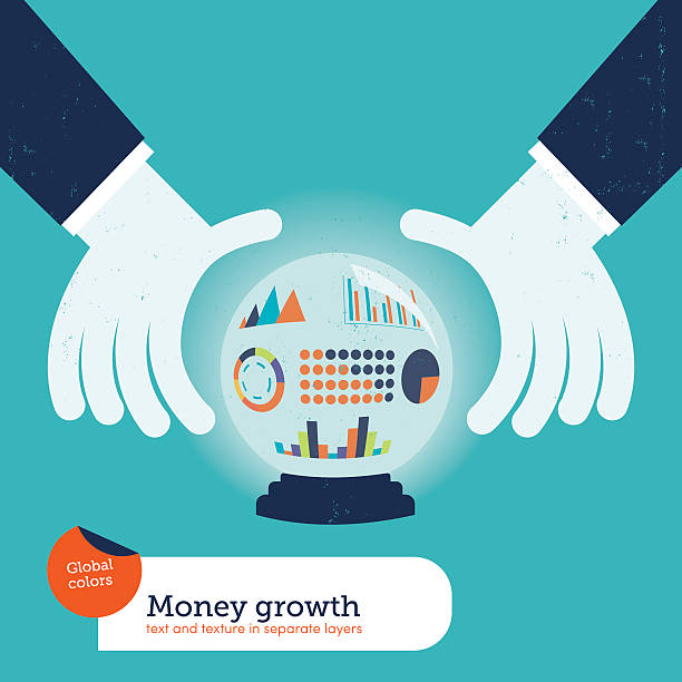 Businessman asking a crystalball with charts vector art illustration