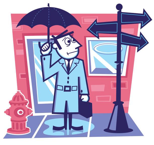 businessman at a crossroad - peter bajohr stock illustrations