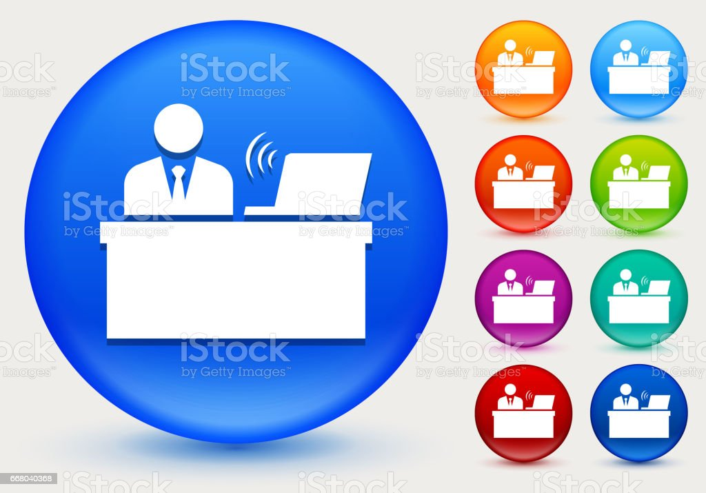 Businessman At Desk Icon On Shiny Color Circle Buttons Stock Vector