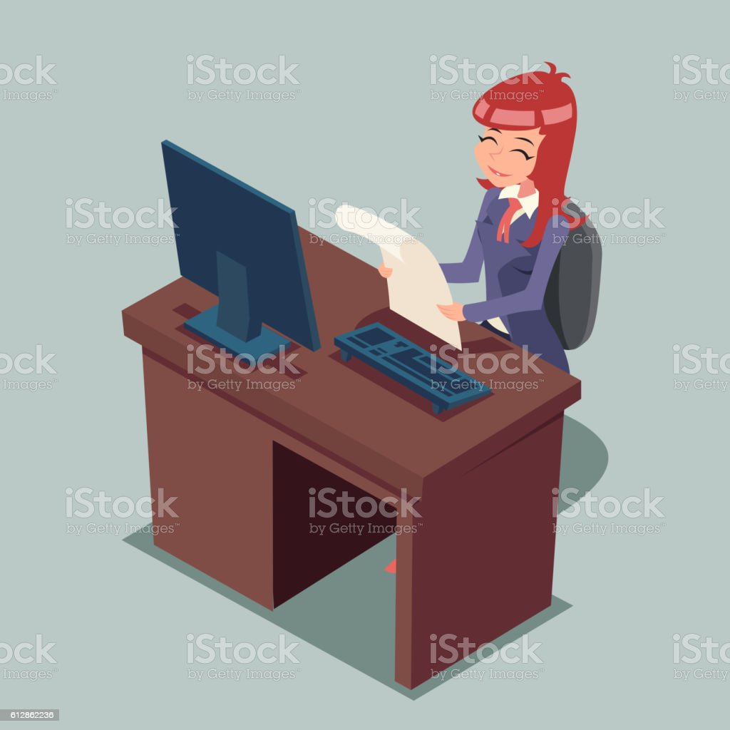 Businessman at Desk Working on Computer Cartoon Characters Icon Retro vector art illustration