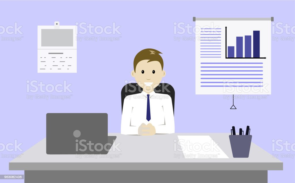 Businessman at Office workplace vector art illustration