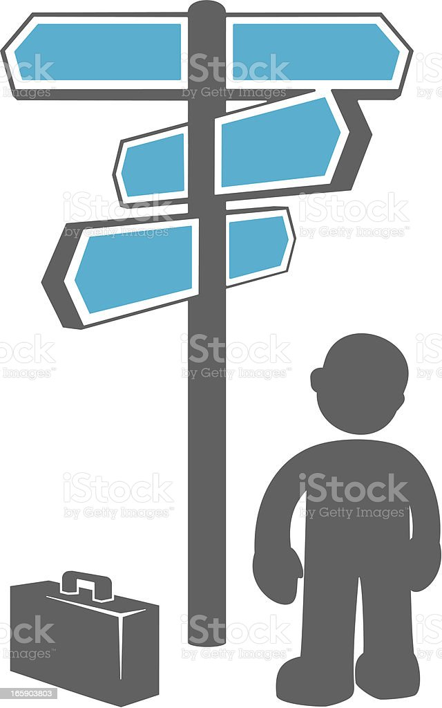 Businessman at Signpost royalty-free businessman at signpost stock vector art & more images of adult