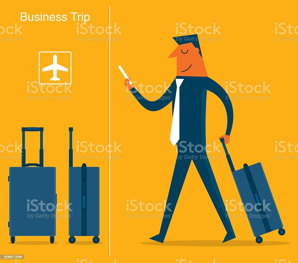 Businessman at the Airport vector art illustration