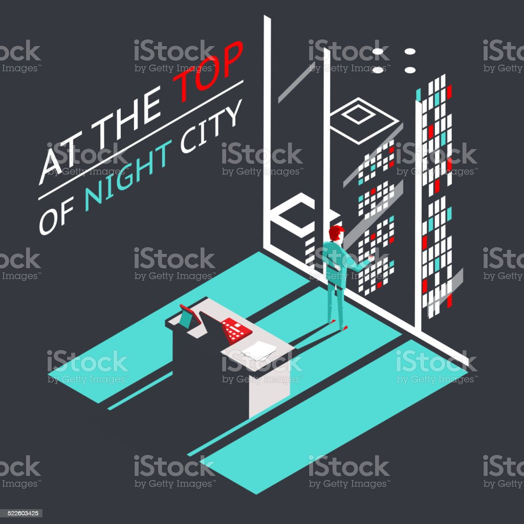 Businessman at the top of a night city in Penthouse vector art illustration