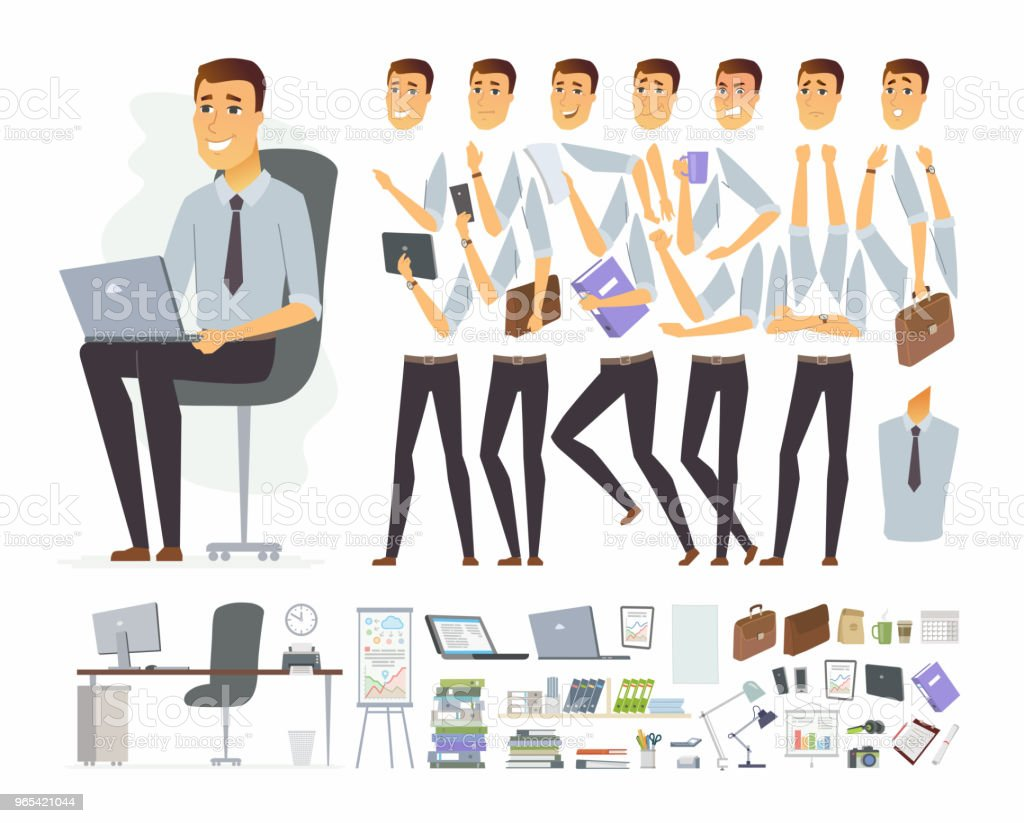 Businessman at work - vector cartoon people character constructor royalty-free businessman at work vector cartoon people character constructor stock vector art & more images of adult