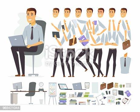 Businessman At Work Vector Cartoon People Character Constructor - Stockowe grafiki wektorowe i więcej obrazów Biurko 965421044