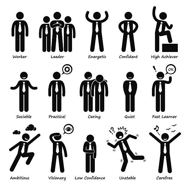 Homme d'affaires d'Attitude personnalités Stick Figure Pictogram icônes de personnages - Illustration vectorielle