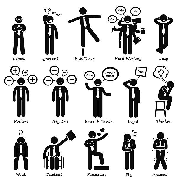 Businessman Attitude Personalities Characters Stick Figure Pictogram Icons These are businessman attitude and personalities. They are genius, ignorant, risk taker, hard working, lazy, positive, negative, smooth talker, loyal, thinker, weak, disabled, passionate, shy, and anxious. careless stock illustrations