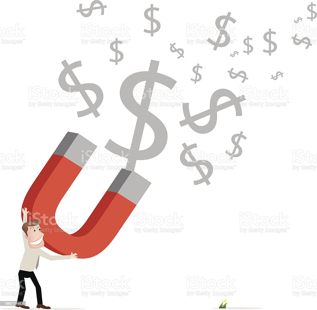 Businessman attracts money with a large magnet royalty-free businessman attracts money with a large magnet stock vector art & more images of adult