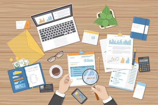 Bill and tax stock illustrations