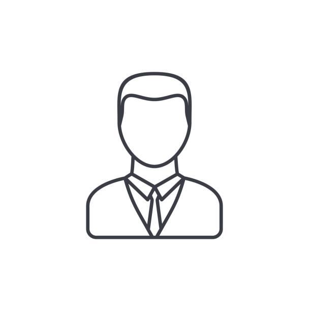 bildbanksillustrationer, clip art samt tecknat material och ikoner med affärsman avatar tunn linje-ikonen. linjär vektor symbol - profile photo