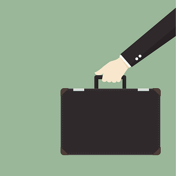 illustrazioni stock, clip art, cartoni animati e icone di tendenza di uomo d'affari borsa - borsa 24 ore