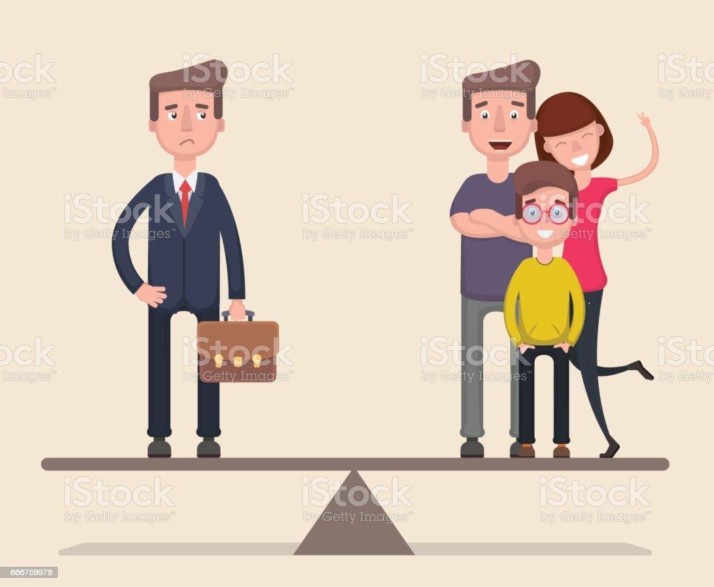 Businessman balance of work and family. Flat. Vector businessman balance of work and family flat vector - immagini vettoriali stock e altre immagini di adulto royalty-free