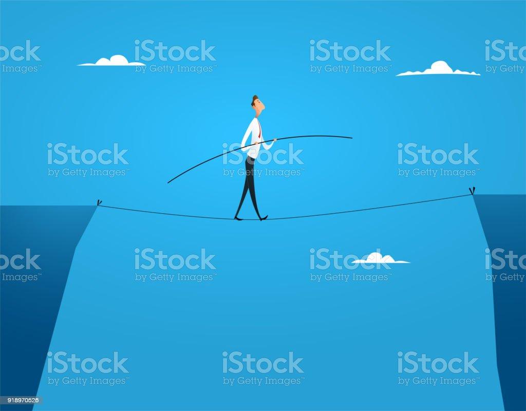商人平衡走在繩子上向量藝術插圖