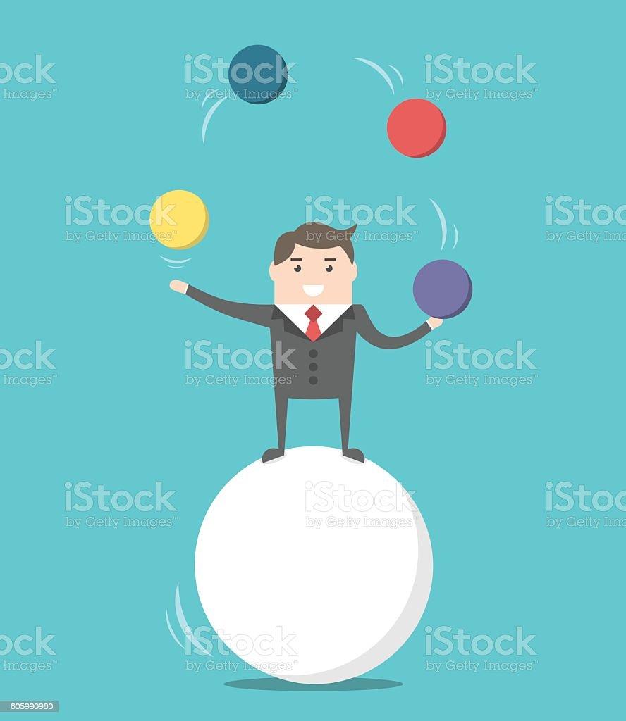 Businessman balancing on ball vector art illustration