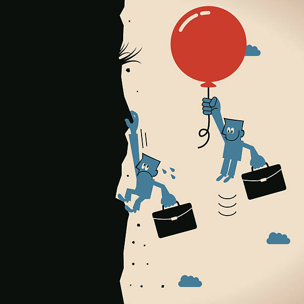 Businessman, balloon floating in the air, climbing up the mountain Blue Little Guy Characters Full Length Vector art illustration.Copy Space. civil servant stock illustrations
