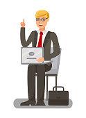 Businessman, Banker, Boss Flat Vector Illustration