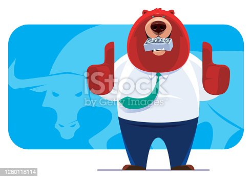 vector illustration of businessman bear  holding money and gesturing thumbs up