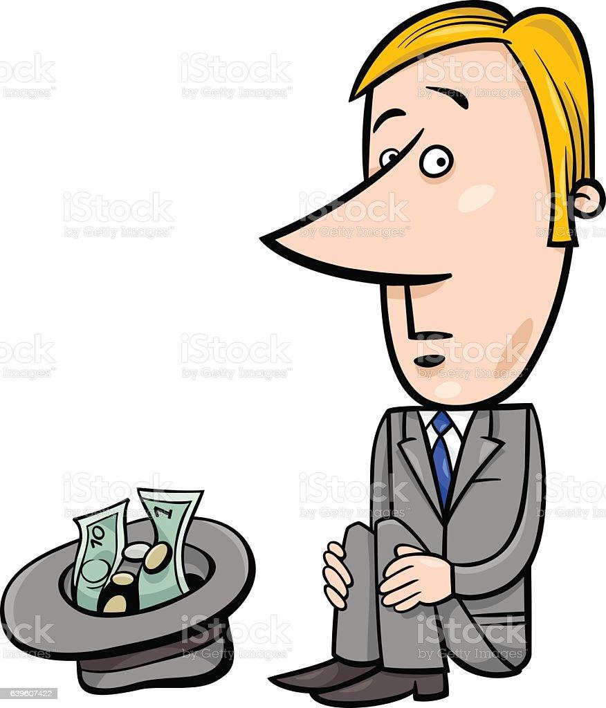 businessman beggar cartoon vector art illustration